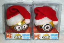DESPICABLE ME DAVE AND CARL MINIONS SET OF 2 Glass ball CHRISTMAS ORNAMENT MIB