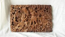 Rare Antique Carved Balinese Wood Panel of Figures Trees & Plants 19.25""