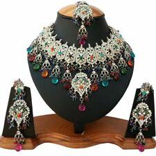 Silver Plated Jodha's Kundan Zerconic Bollywood Necklace Set Earrings Tikka ES2