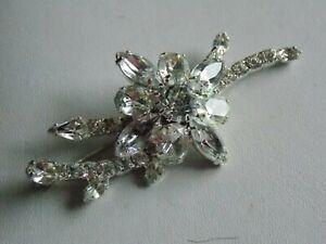 Wonderful Signed Anthony Attruia Crystal Glass Diamante Flower Spray Brooch