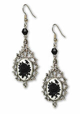 NEW! Gothic Black Rose Cameo in Thorns Dangle Earrings #1045BW