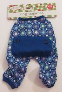New Worldpet One Piece Cotton Christmas Dog Pajamas Blue with Starburst Pattern