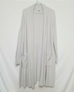 Barefoot Dreams Womens L/XL Cozychic Lite Cardigan Sweater Ribbed L/S Open Gray