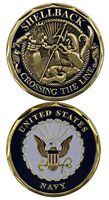 Military United States Navy Shellback Challenge Coin Crossing the Line