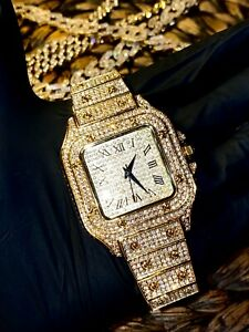 Mens Custom Fully Ice out Sport Iced Cz VVS Quality Stainless Steel Fully Bling