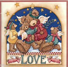 "Dimensions KIT Angel Bear Love Stamped Cross-Stitch 12""x12"" NEW"