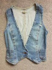 Mango Women's Blue Denim Waistcoat Size XS Excellent Condition