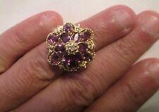 Vintage 14K Gold Diamond & Amethyst Ring TCW=4.07 Carats   Size 6