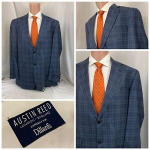 Austin Reed Blazer 44L Blue Plaid Wool 2B 1V NWT USA YGI U1-465