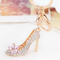 High-heeled Shoes Crystal Golden Color Key Ring Charm Bag Pendant Keychain