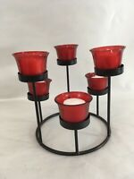 Vintage Circular Free Standing 6 Red Glass Cup Votive Tea Candle Holder