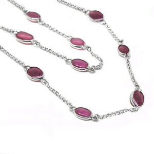 """De Buman Sterling Silver Oval-cut Natural Ruby Long Necklace, 36"""""""