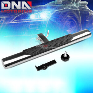 """35"""" x 4"""" OVAL 2"""" RECEIVER CHROME TRAILER TOWING/HITCH STEP BAR/BUMPER GUARD+PIN"""