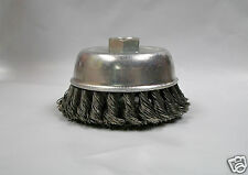 """4"""" Knotted Wire Cup Brush, Coarse, 5/8""""-11 Thread For Angle Grinders, Lot of 1"""
