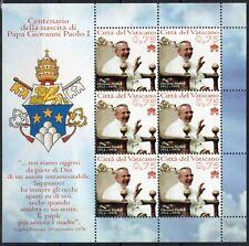 2012 Vaticano Foglietti BENEDETTO XVI 100° nascita di Giovanni Paolo I MNH