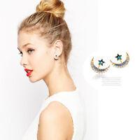 Girls Yellow Gold Filled Moon Star Shape Crystal Rhinestone Stud Earrings