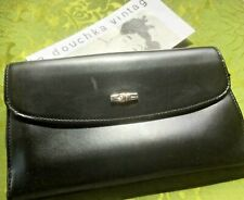 French Longchamp Women Clutch Wallet~Black Leather~Bamboo / Roseau~Chic Vintage