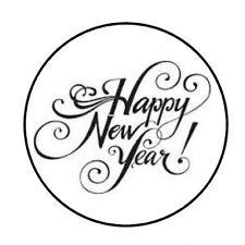 "48 Happy New Year Envelope Seals Labels Stickers 1.2"" Round"