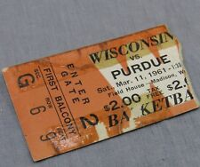 Wisconsin Badgers vs Purdue Vtg Ticket Stub 1961 Basketball Game Field House