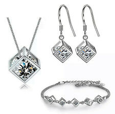 Schmuckset 925 Sterling Silber Halskette Collier Ohrringe Armband Würfel 092
