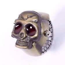 Beauty Fashion Lady Girl Man Steel Skull Elastic Quartz Finger Ring Watch RT !