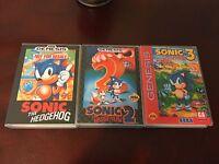 Sonic the Hedgehog 1,2,3. Sega Genesis Replacement Case. Sonic & Knuckles