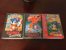 Sonic the Hedgehog 1-3 (Sega Genesis) Empty Replacement Case.