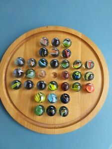Vintage Wooden Solitaire Board and Large Glass Marbles. Complete.