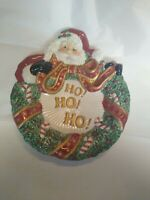 Fitz and Floyd Christmas SANTA HO HO HO Candy Dish Plate Essentials Collection