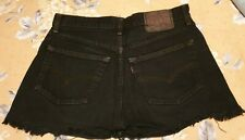 Fabulous LEVI'S 501 High Waisted Frayed Hem Cut Off SHORTS Black 30' / 31' Waist