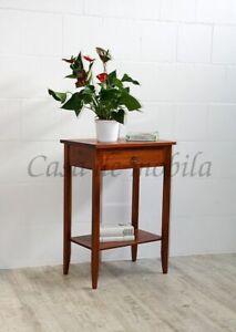 Massivholz Beistelltisch kirschbaumfarben Konsolentisch Telefontisch Nachttisch