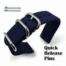 Dark Blue Nylon Watch Band Strap Belt Army Military Ballistic Silver Buckle 6035