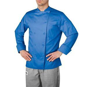 BRAND NEW CHEFWEAR MEN ORGANIC COTTON TRADITIONAL CHEF COAT BLUE
