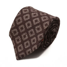 NWT $230 ISAIA 7-Fold Chocolate Brown Jacquard Print Soft Wool Tie