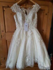 JJS HOUSE VINTAGE STYLE KNEE LENGTH WEDDING DRESS  Size 10 BNWT