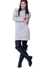 Women's Ladies Knit Stylish Trendy Warm Polo Jumper Sweater Dress