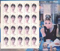 Legends Of Hollywood Audrey Hepburn 2002 20 USPS Stamps 020618DBC