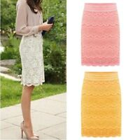 Lady Lace Hollow Bodycon Pencil Skirt Midi Length High Waist Formal Work Costume