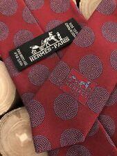 Hermès Paris Tie, Krawatte Seide, Made in France, 100% Silk/Soie, Red, 9cm