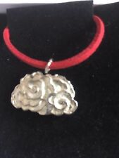 "Cluster Cloud TG260 Fine English Pewter On 18"" Red Cord Necklace"