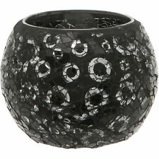 BLACK AND SILVER CRACKLED GLASS MOSAIC CANDLE TEALIGHT HOLDER HOME DECOR