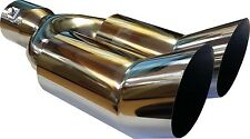 Twin Exit Exhaust Tail Trim Pipe Piece Up Swept Screw On Fits 57mm