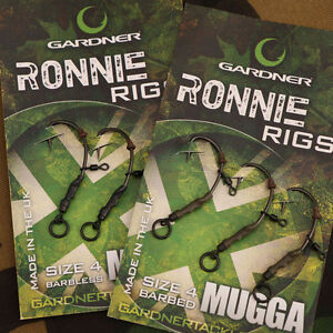 Gardner Tackle Ready Tied Ronnie Rigs (Pack of 3) NEW Carp Fishing Tied Rigs