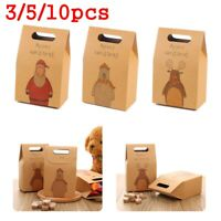 Xmas Party Holder Cookies Pouch Gift Bags Christmas Candy Box Kraft Paper
