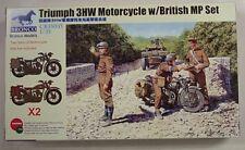 Bronco 1/35 Triumph 3HW Motorcycle Set W 3 British MP Set 35035