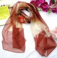 "100% natural Silk Women Scarf 67""x22"" Oblong Long Neck brown Shawl Wrap QQ02054"