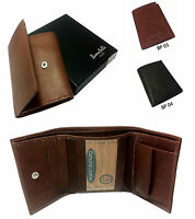 Real Genuine Leather Mens Tri fold Wallet Designer Buono Pelle Card Gift Box