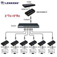 (1 SENDER+ 6 RECIVERS) 120m HDMI Network Extender Over Ethernet LAN RJ45 CAT5E/6
