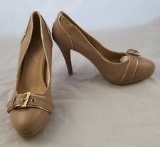 LADIES SERGIO TODZI HIGH HEELED STILETTO KHAKI BUCKLED SHOES UK 6.5 EUR 40