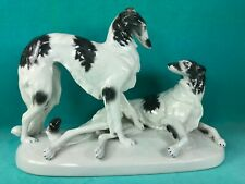 VINTAGE PORCELAIN FIGURINE OF A PAIR OF BORZOI DOGS ON A PLINTH, GERMANY, LOVELY
